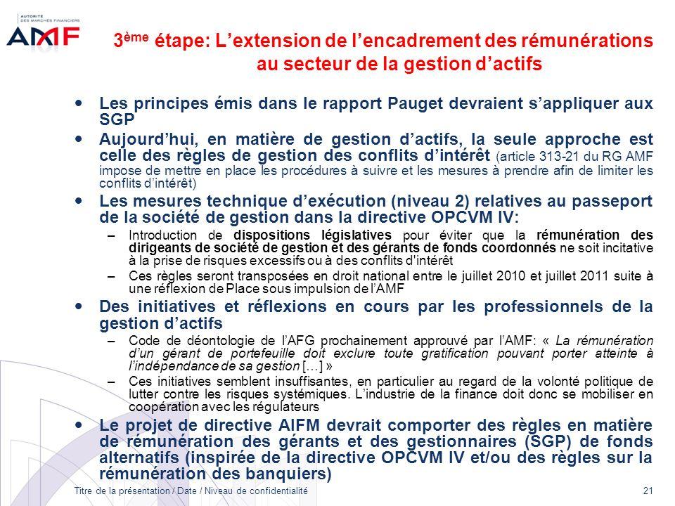 Titre de la présentation / Date / Niveau de confidentialité 21 3 ème étape: Lextension de lencadrement des rémunérations au secteur de la gestion dact