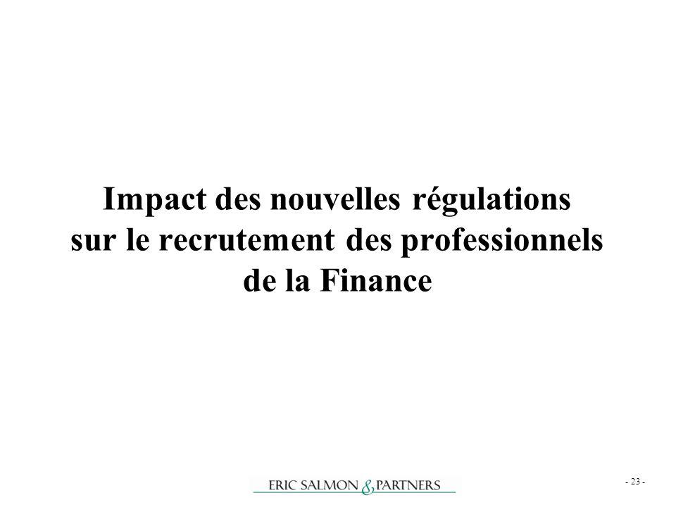 Impact des nouvelles régulations sur le recrutement des professionnels de la Finance - 23 -