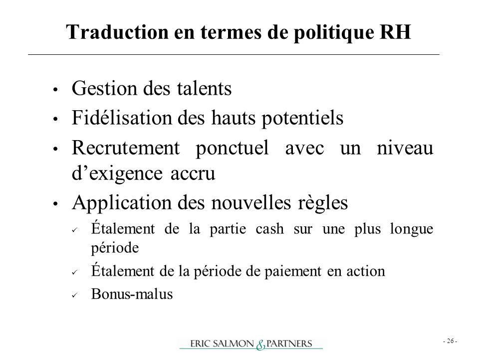 - 26 - Gestion des talents Fidélisation des hauts potentiels Recrutement ponctuel avec un niveau dexigence accru Application des nouvelles règles Étal