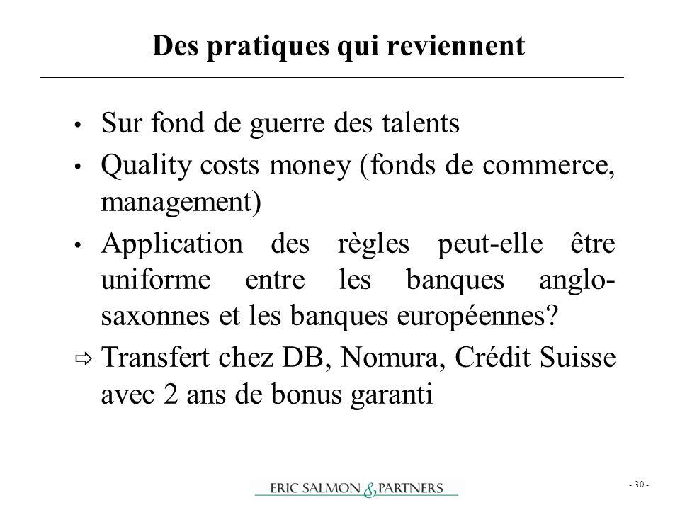 - 30 - Sur fond de guerre des talents Quality costs money (fonds de commerce, management) Application des règles peut-elle être uniforme entre les ban