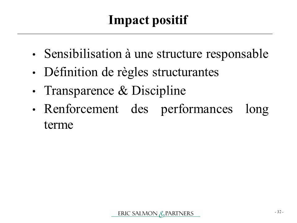 - 32 - Sensibilisation à une structure responsable Définition de règles structurantes Transparence & Discipline Renforcement des performances long ter