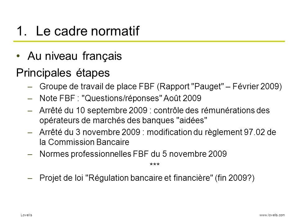 www.lovells.comLovells 1.Le cadre normatif Au niveau français Principales étapes –Groupe de travail de place FBF (Rapport