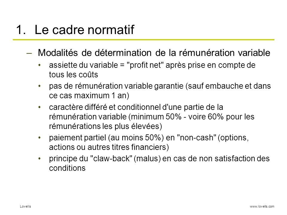 www.lovells.comLovells 1.Le cadre normatif –Modalités de détermination de la rémunération variable assiette du variable =