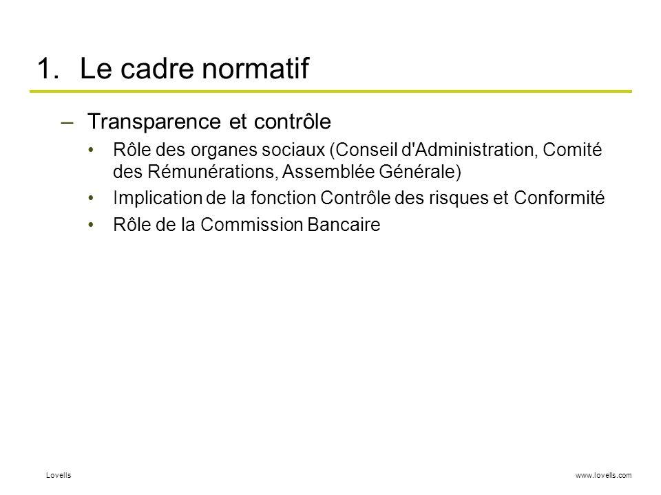 www.lovells.comLovells 1.Le cadre normatif –Transparence et contrôle Rôle des organes sociaux (Conseil d'Administration, Comité des Rémunérations, Ass