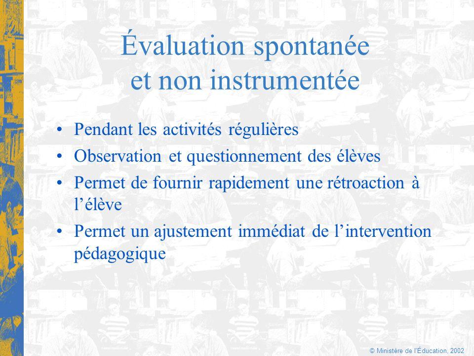 © Ministère de l'Éducation, 2002 Évaluation spontanée et non instrumentée Pendant les activités régulières Observation et questionnement des élèves Pe