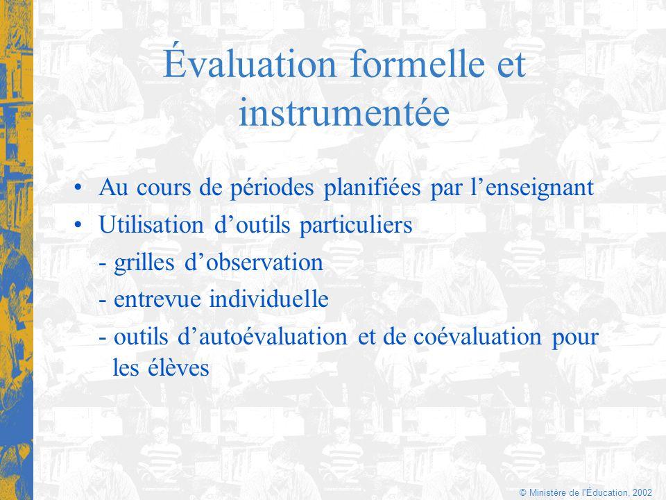 © Ministère de l'Éducation, 2002 Évaluation formelle et instrumentée Au cours de périodes planifiées par lenseignant Utilisation doutils particuliers