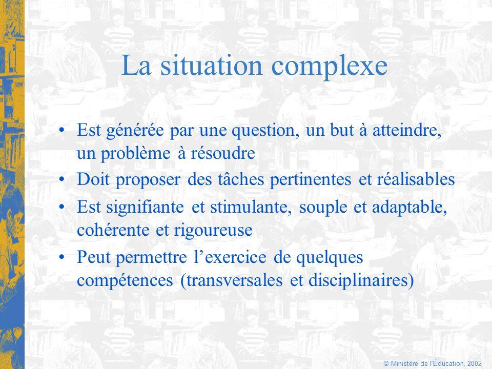 © Ministère de l'Éducation, 2002 La situation complexe Doit proposer des tâches pertinentes et réalisables Est signifiante et stimulante, souple et ad