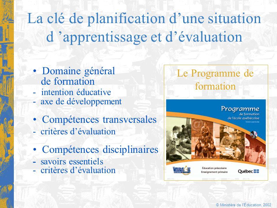 © Ministère de l'Éducation, 2002 La clé de planification dune situation d apprentissage et dévaluation Domaine général de formation - intention éducat
