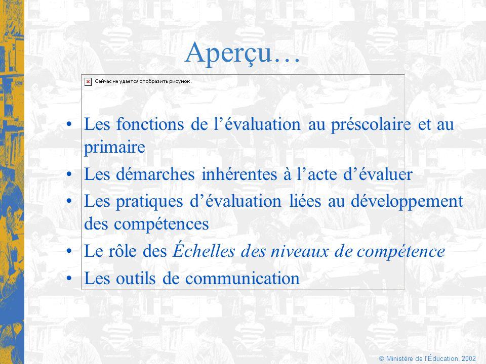 © Ministère de l'Éducation, 2002 Aperçu… Les fonctions de lévaluation au préscolaire et au primaire Les démarches inhérentes à lacte dévaluer Les prat