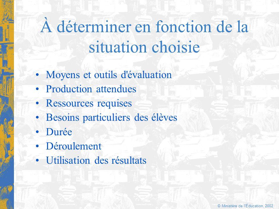 © Ministère de l'Éducation, 2002 À déterminer en fonction de la situation choisie Moyens et outils d'évaluation Production attendues Ressources requis