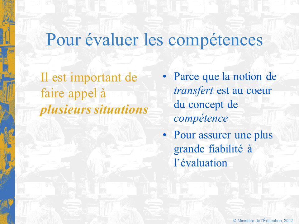 © Ministère de l'Éducation, 2002 Pour évaluer les compétences Il est important de faire appel à plusieurs situations Parce que la notion de transfert