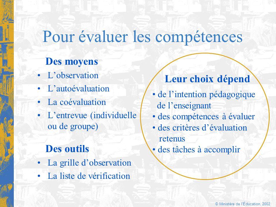 © Ministère de l'Éducation, 2002 Pour évaluer les compétences Des moyens Lobservation Lautoévaluation La coévaluation Lentrevue (individuelle ou de gr