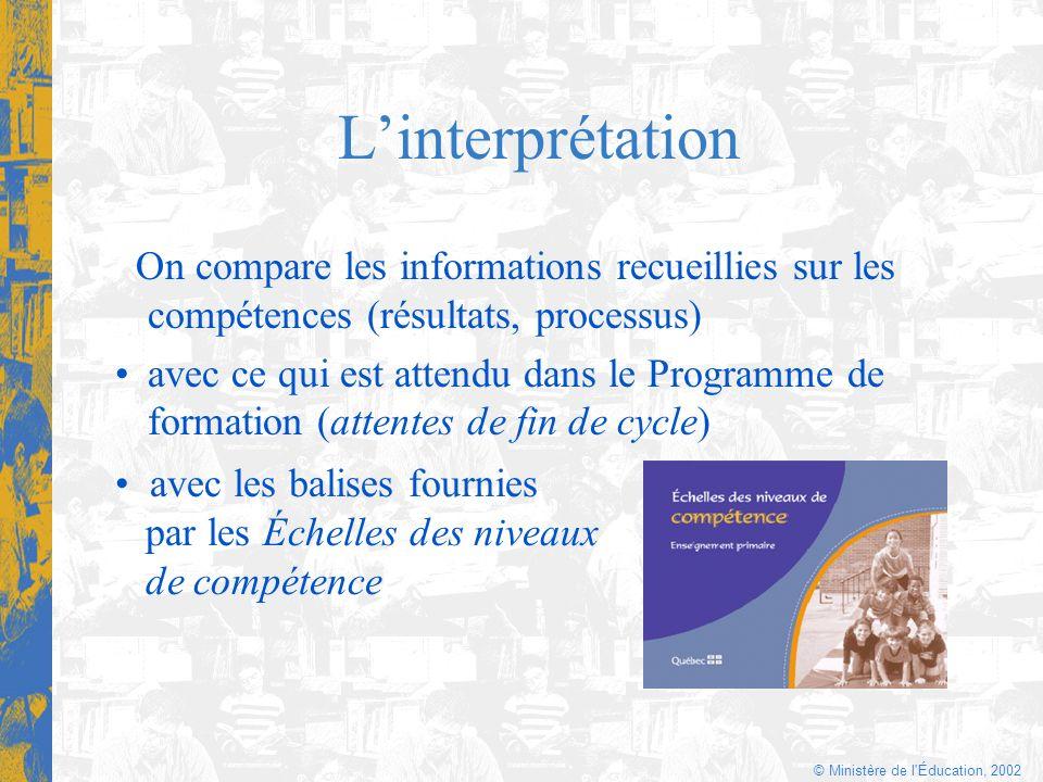© Ministère de l'Éducation, 2002 Linterprétation On compare les informations recueillies sur les compétences (résultats, processus) avec ce qui est at