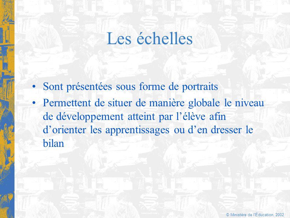 © Ministère de l'Éducation, 2002 Les échelles Sont présentées sous forme de portraits Permettent de situer de manière globale le niveau de développeme