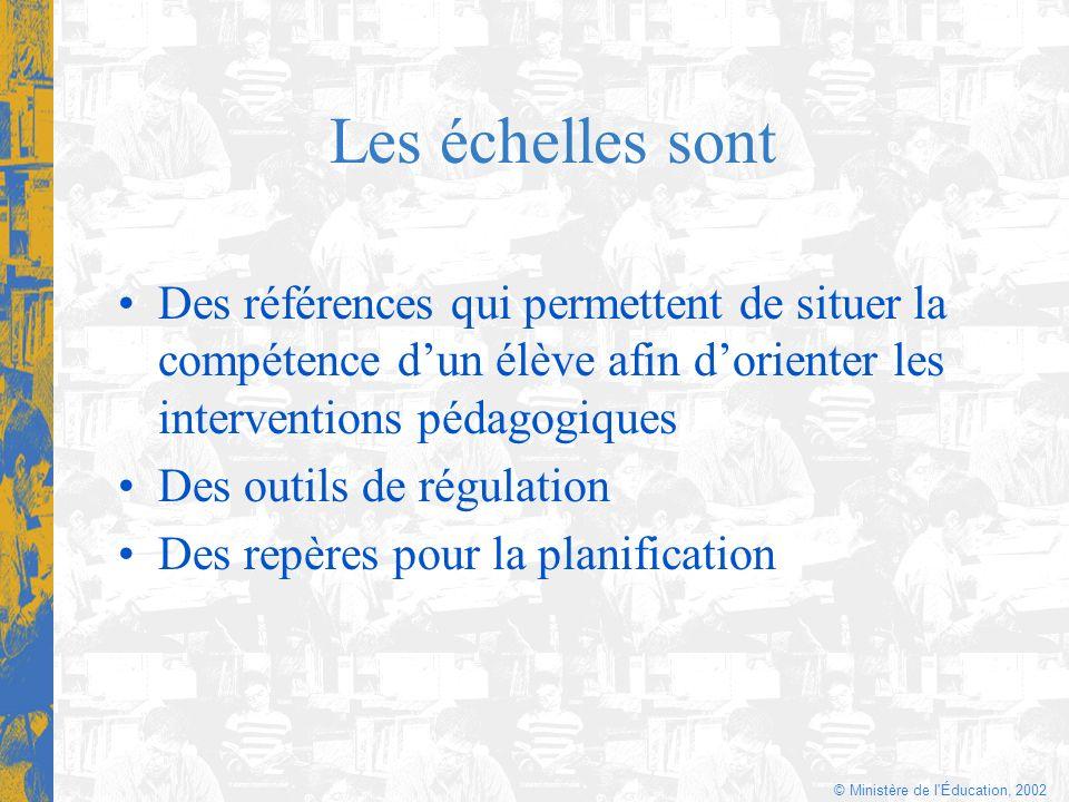 © Ministère de l'Éducation, 2002 Les échelles sont Des références qui permettent de situer la compétence dun élève afin dorienter les interventions pé