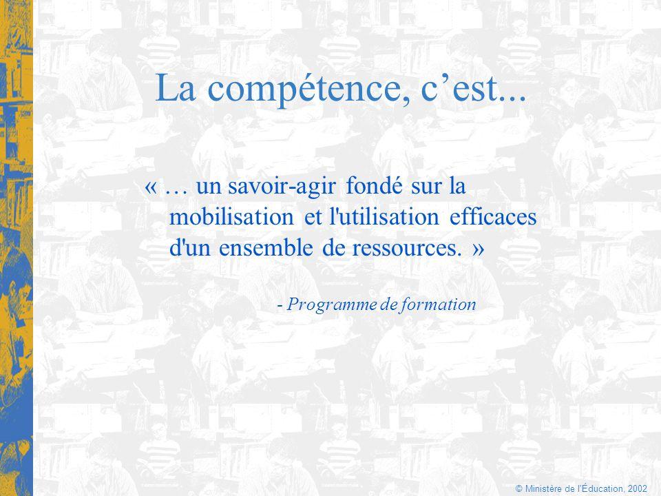 © Ministère de l'Éducation, 2002 La compétence, cest... « … un savoir-agir fondé sur la mobilisation et l'utilisation efficaces d'un ensemble de resso