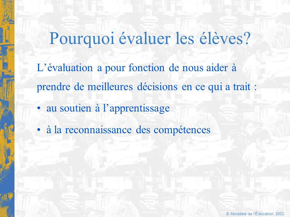© Ministère de l'Éducation, 2002 Pourquoi évaluer les élèves? Lévaluation a pour fonction de nous aider à prendre de meilleures décisions en ce qui a