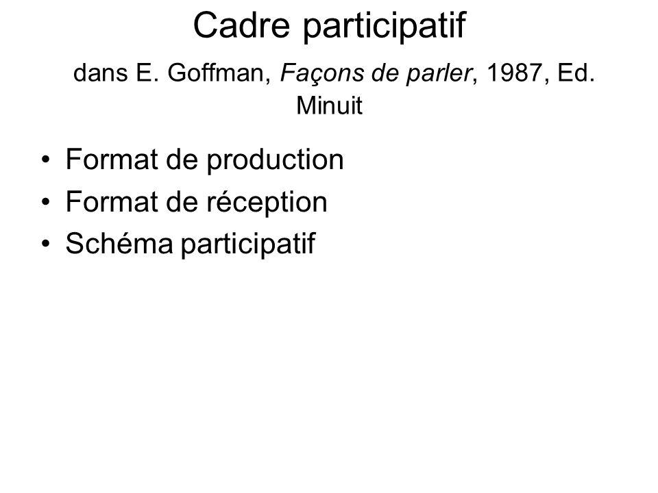 Cadre participatif dans E. Goffman, Façons de parler, 1987, Ed. Minuit Format de production Format de réception Schéma participatif
