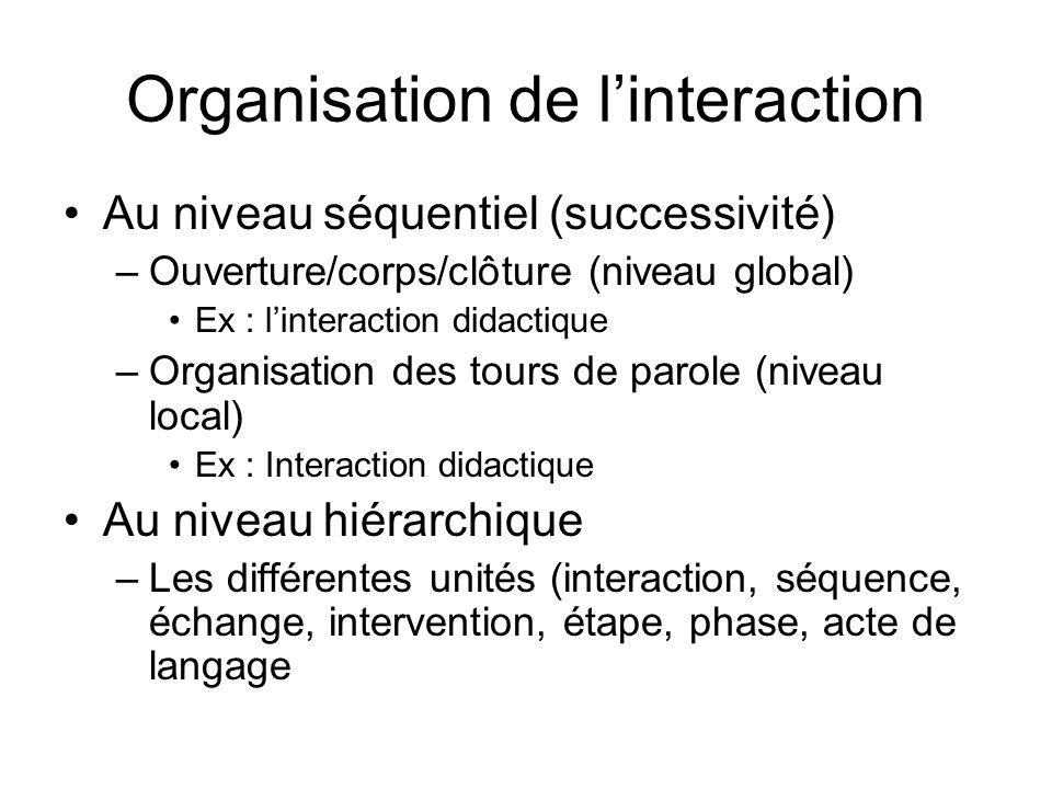 Organisation de linteraction Au niveau séquentiel (successivité) –Ouverture/corps/clôture (niveau global) Ex : linteraction didactique –Organisation d