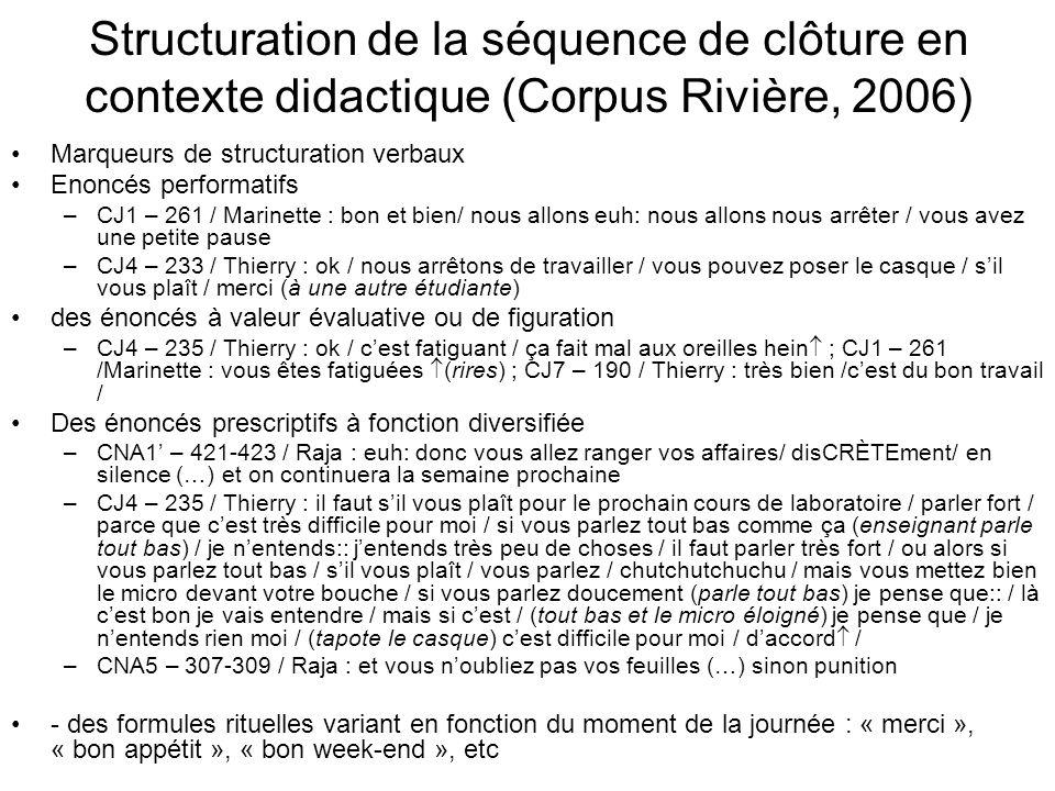 Structuration de la séquence de clôture en contexte didactique (Corpus Rivière, 2006) Marqueurs de structuration verbaux Enoncés performatifs –CJ1 – 2