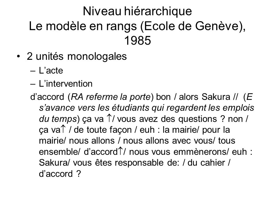 Niveau hiérarchique Le modèle en rangs (Ecole de Genève), 1985 2 unités monologales –Lacte –Lintervention daccord (RA referme la porte) bon / alors Sa