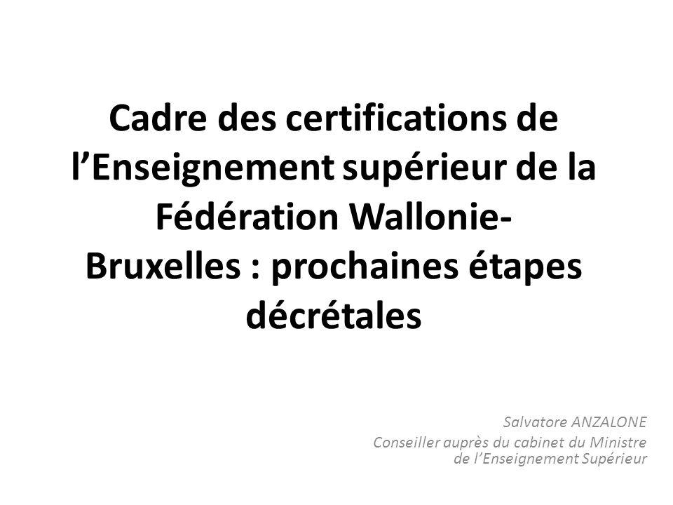 Cadre des certifications de lEnseignement supérieur de la Fédération Wallonie Bruxelles : prochaines étapes décrétales Salvatore ANZALONE Conseiller auprès du cabinet du Ministre de lEnseignement Supérieur