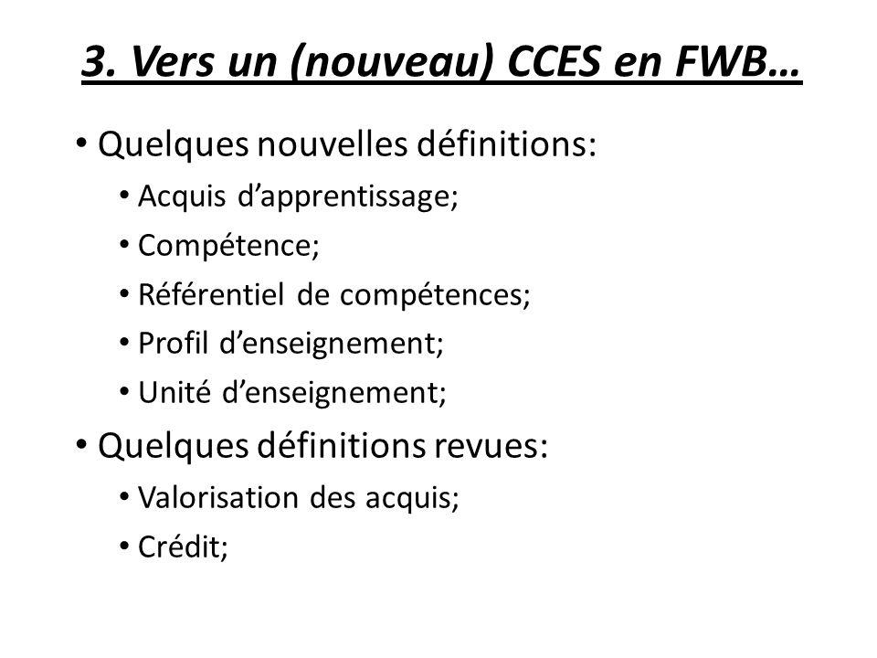 3. Vers un (nouveau) CCES en FWB… Quelques nouvelles définitions: Acquis dapprentissage; Compétence; Référentiel de compétences; Profil denseignement;