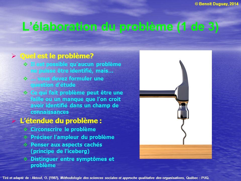 © Benoit Duguay, 2014 Lélaboration du problème (2 de 3) Les points essentiels : Formuler les questions clés de façon précise Qui peut-on interroger.