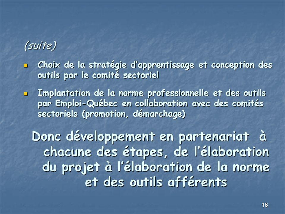 16 (suite) Choix de la stratégie dapprentissage et conception des outils par le comité sectoriel Choix de la stratégie dapprentissage et conception des outils par le comité sectoriel Implantation de la norme professionnelle et des outils par Emploi-Québec en collaboration avec des comités sectoriels (promotion, démarchage) Implantation de la norme professionnelle et des outils par Emploi-Québec en collaboration avec des comités sectoriels (promotion, démarchage) Donc développement en partenariat à chacune des étapes, de lélaboration du projet à lélaboration de la norme et des outils afférents
