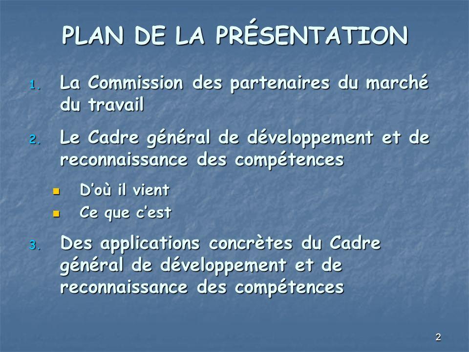2 PLAN DE LA PRÉSENTATION 1. La Commission des partenaires du marché du travail 2. Le Cadre général de développement et de reconnaissance des compéten