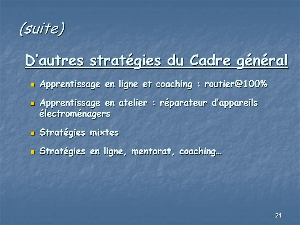 21 (suite) Dautres stratégies du Cadre général Dautres stratégies du Cadre général Apprentissage en ligne et coaching : routier@100% Apprentissage en