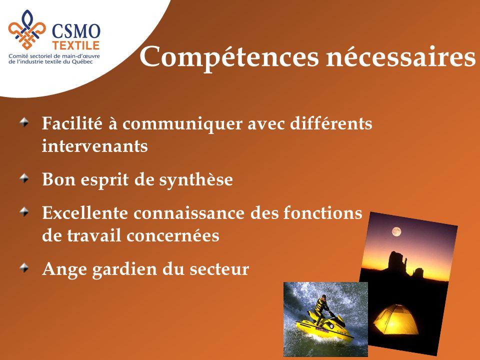 Compétences nécessaires Facilité à communiquer avec différents intervenants Bon esprit de synthèse Excellente connaissance des fonctions de travail co