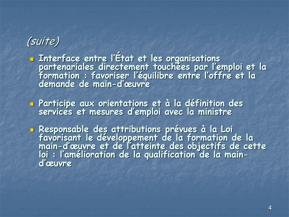 4 (suite) Interface entre lÉtat et les organisations partenariales directement touchées par lemploi et la formation : favoriser léquilibre entre loffr