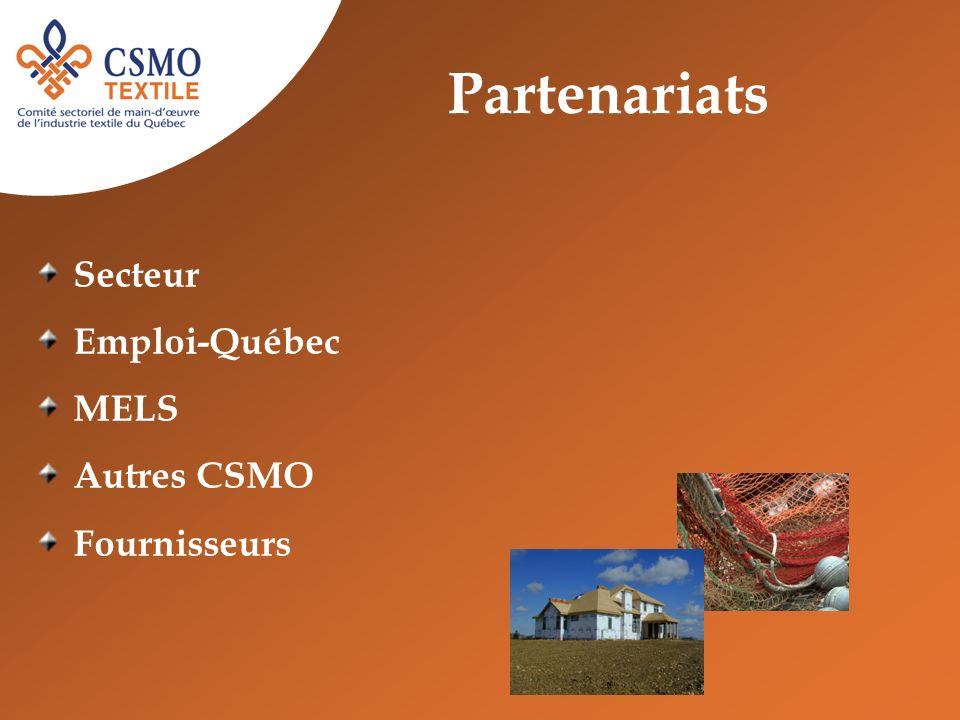 Partenariats Secteur Emploi-Québec MELS Autres CSMO Fournisseurs