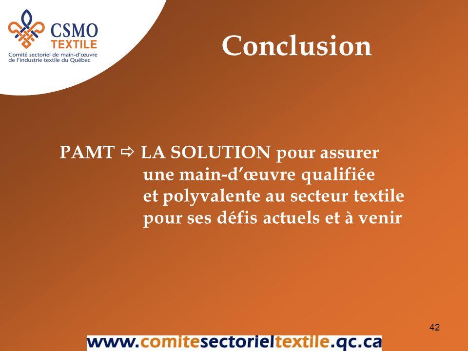 42 PAMT LA SOLUTION pour assurer une main-dœuvre qualifiée et polyvalente au secteur textile pour ses défis actuels et à venir Conclusion