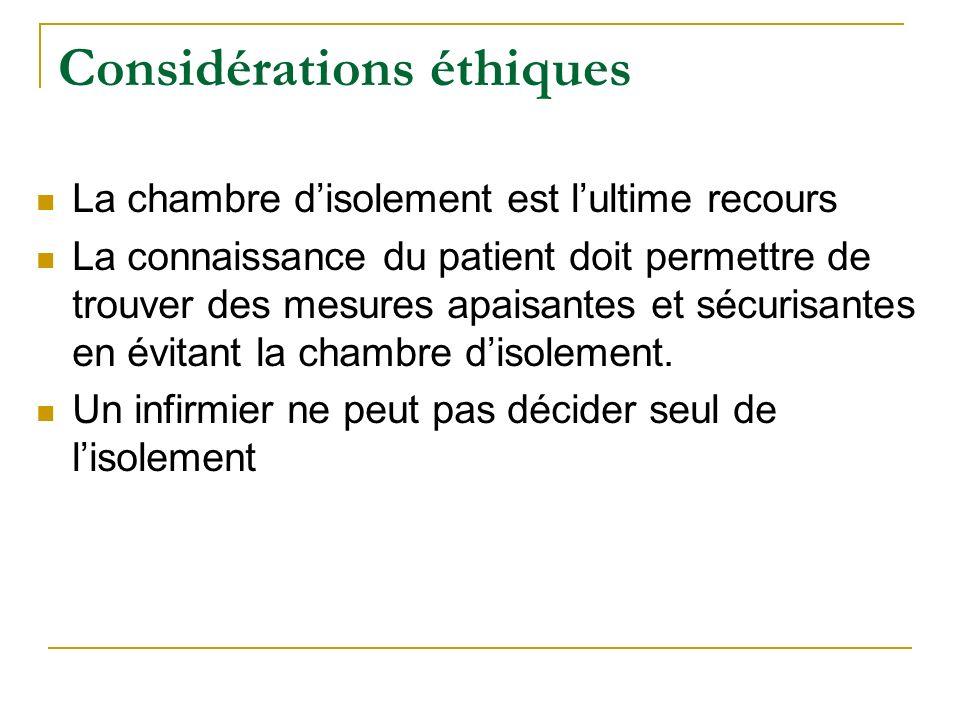 Considérations éthiques La chambre disolement est lultime recours La connaissance du patient doit permettre de trouver des mesures apaisantes et sécur