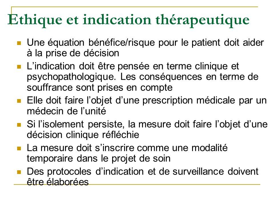 Ethique et indication thérapeutique Une équation bénéfice/risque pour le patient doit aider à la prise de décision Lindication doit être pensée en ter