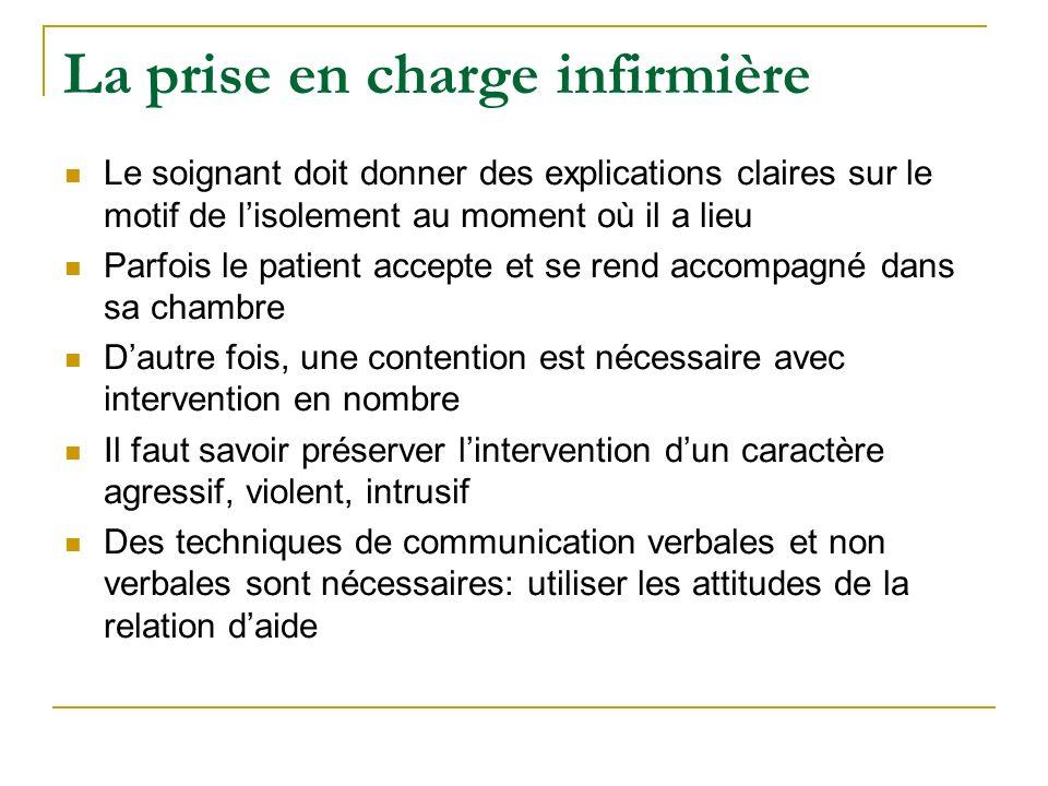 La prise en charge infirmière Le soignant doit donner des explications claires sur le motif de lisolement au moment où il a lieu Parfois le patient ac
