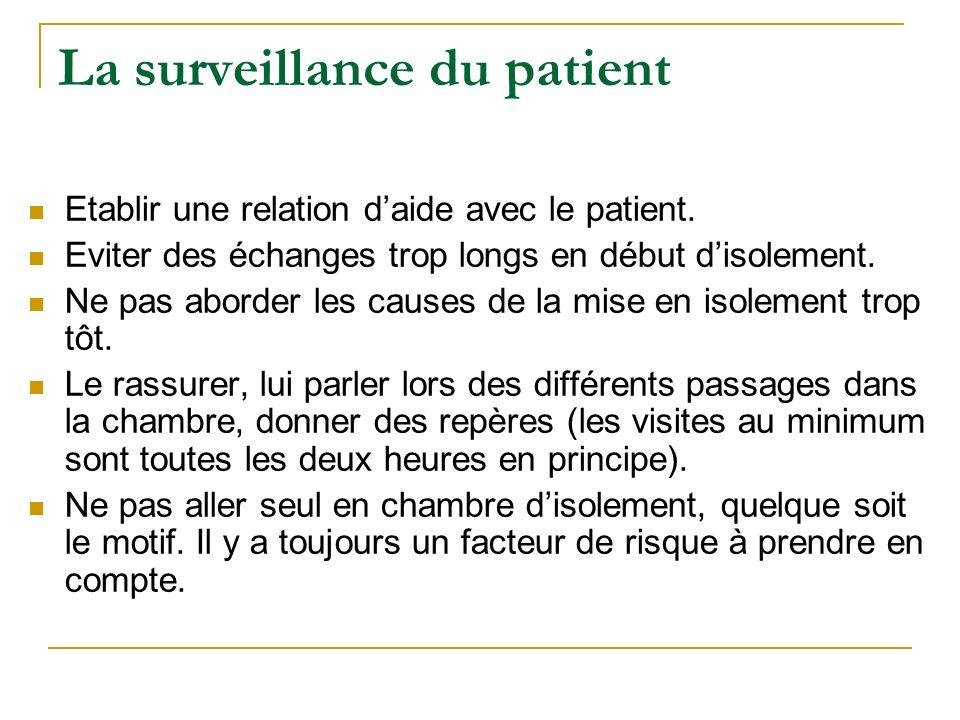 La surveillance du patient Etablir une relation daide avec le patient. Eviter des échanges trop longs en début disolement. Ne pas aborder les causes d