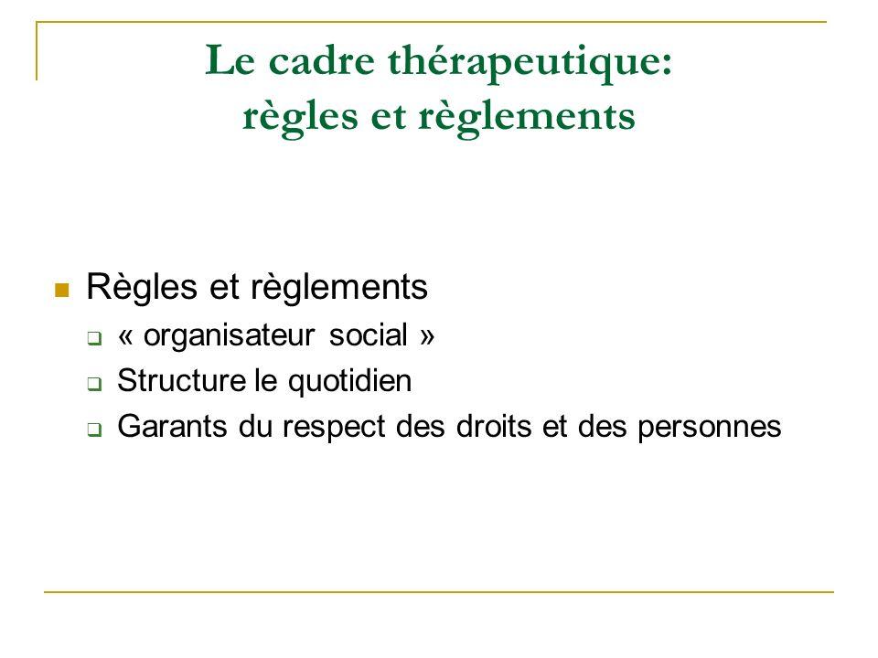 Le cadre thérapeutique: règles et règlements Règles et règlements « organisateur social » Structure le quotidien Garants du respect des droits et des