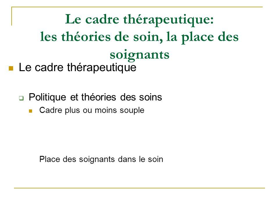 Le cadre thérapeutique: les théories de soin, la place des soignants Le cadre thérapeutique Politique et théories des soins Cadre plus ou moins souple