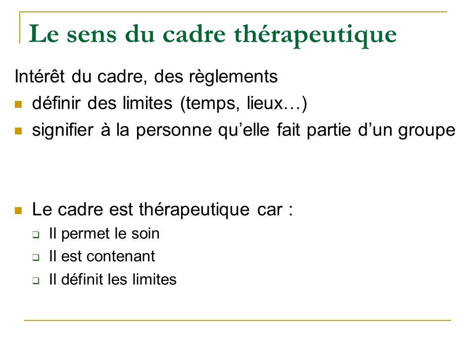 Le sens du cadre thérapeutique Intérêt du cadre, des règlements définir des limites (temps, lieux…) signifier à la personne quelle fait partie dun gro