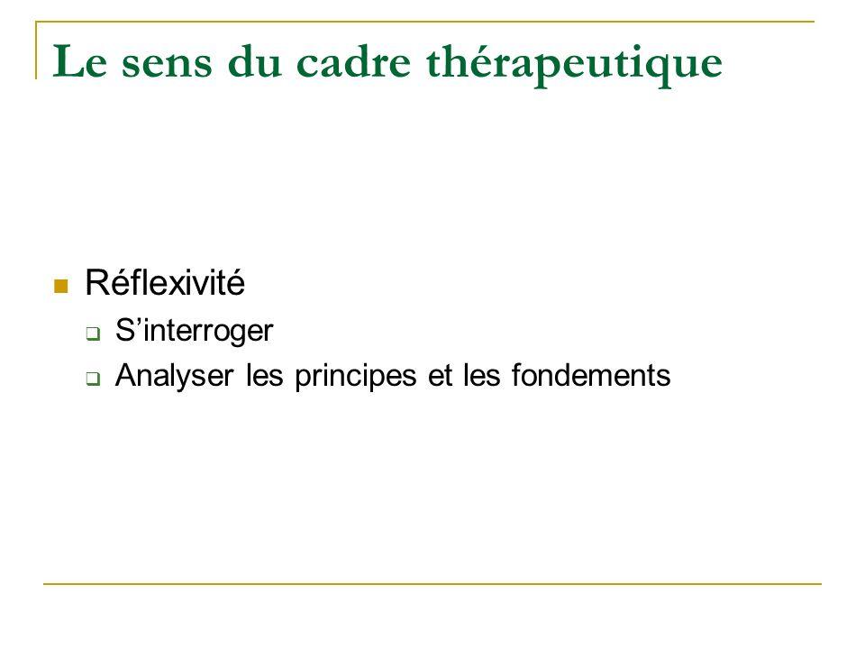 Le sens du cadre thérapeutique Tiers entre le soignant et le soigné Intégration des lois et limites Travail sur le réel