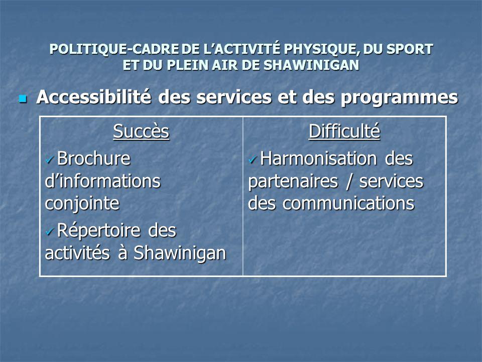 POLITIQUE-CADRE DE LACTIVITÉ PHYSIQUE, DU SPORT ET DU PLEIN AIR DE SHAWINIGAN Accessibilité des services et des programmes Accessibilité des services