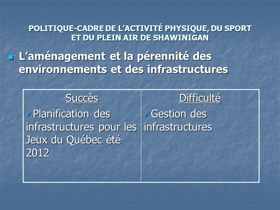 POLITIQUE-CADRE DE LACTIVITÉ PHYSIQUE, DU SPORT ET DU PLEIN AIR DE SHAWINIGAN Laménagement et la pérennité des environnements et des infrastructures Laménagement et la pérennité des environnements et des infrastructures Succès Planification des infrastructures pour les Jeux du Québec été 2012 Planification des infrastructures pour les Jeux du Québec été 2012Difficulté Gestion des infrastructures Gestion des infrastructures