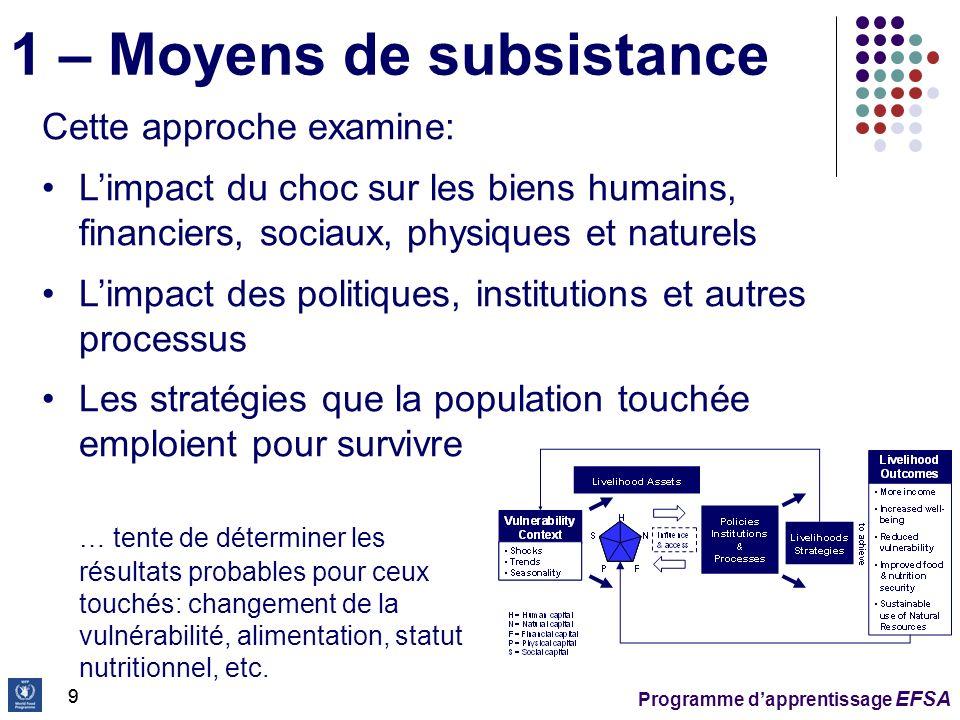 Programme dapprentissage EFSA 20 Résultats: malnutrition et mortalité en excès dû à lincapacité de résoudre les problèmes aux autres niveaux Cadre conceptuel du PAM – Niveaux danalyse (4)