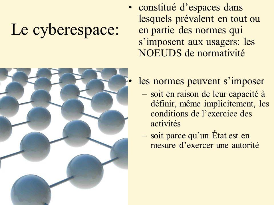 Le cyberespace: constitué despaces dans lesquels prévalent en tout ou en partie des normes qui simposent aux usagers: les NOEUDS de normativité les no