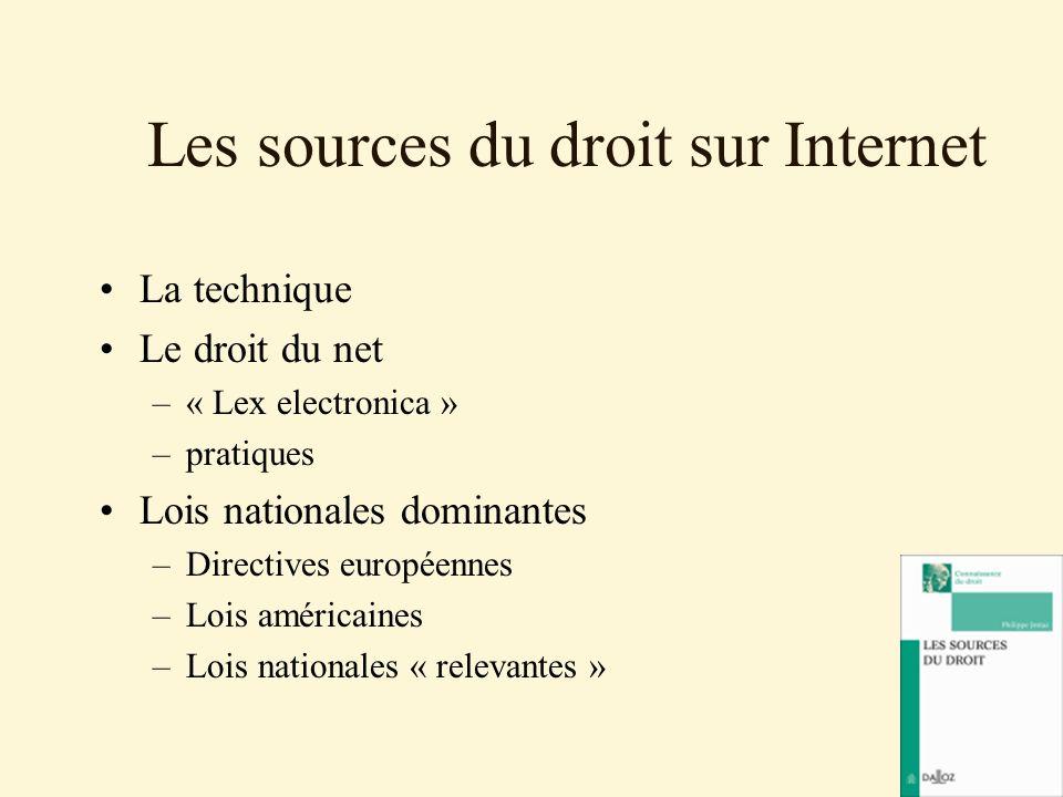 Les sources du droit sur Internet La technique Le droit du net –« Lex electronica » –pratiques Lois nationales dominantes –Directives européennes –Loi