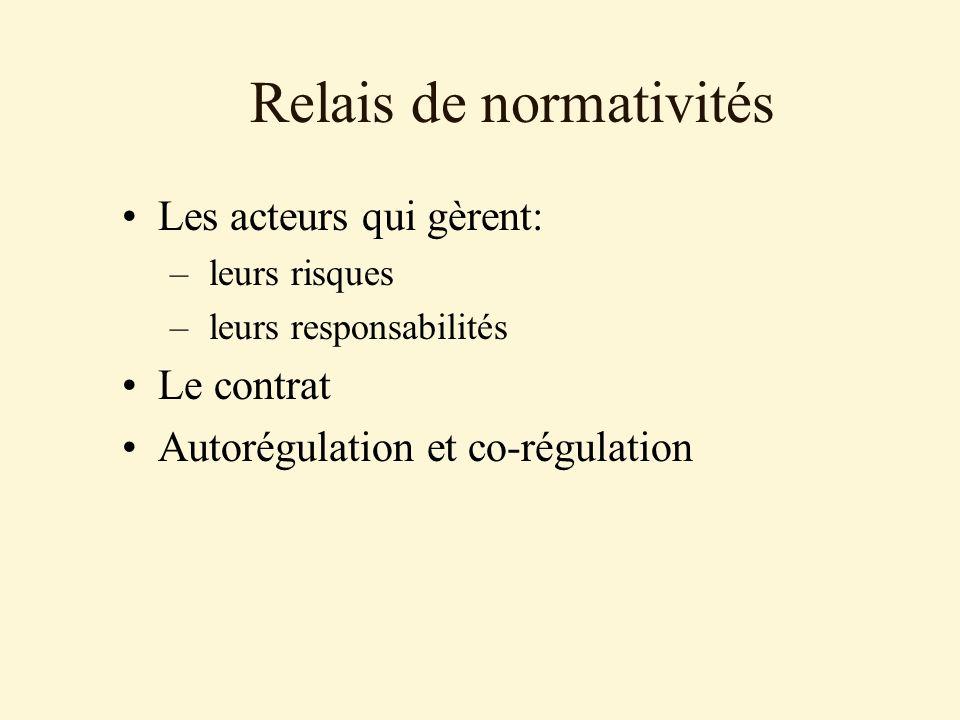 Relais de normativités Les acteurs qui gèrent: – leurs risques – leurs responsabilités Le contrat Autorégulation et co-régulation