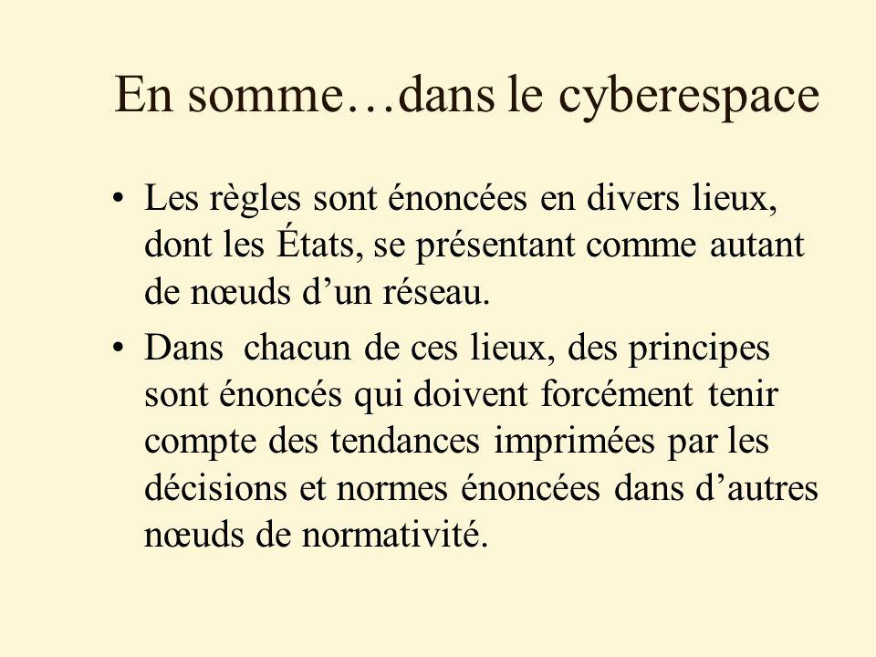 En somme…dans le cyberespace Les règles sont énoncées en divers lieux, dont les États, se présentant comme autant de nœuds dun réseau. Dans chacun de